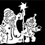 Шаблон Деда Мороза и Снегурочки из бумаги| Новогодние трафареты на окна