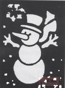 Украшение окон шаблон снеговика